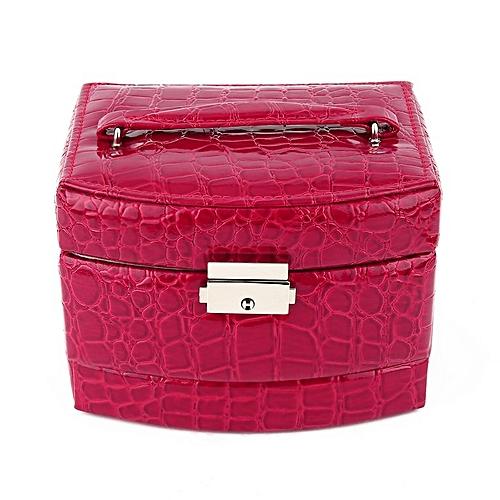 Crocodile Grain Leather Metal Automatic Three Layer Upscale Jewellery Box Rose Red