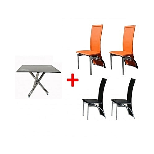 Square Dining Set - Orange & Black