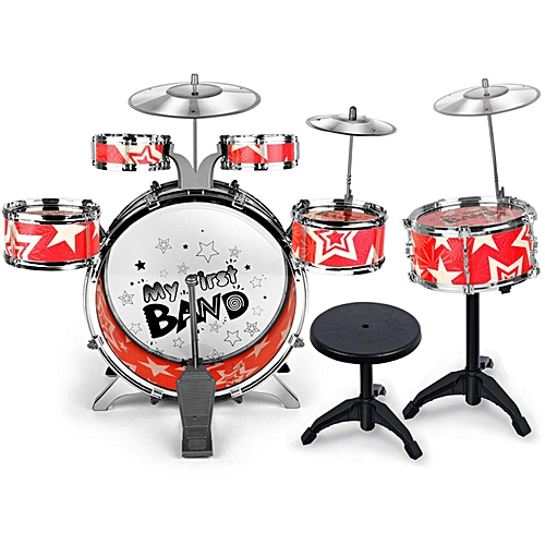 Kids Children Junior Drum Set Drums Kit Percussion Musical Instrument With Cymbal Drumsticks Adjustable Stool