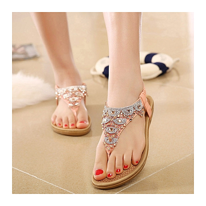 bc99e10f9e8e9 Great Women s Thong Sandals Summer Crystal Design Back Strap Female Causal Beach  Flip Flops Flats Shoes ...