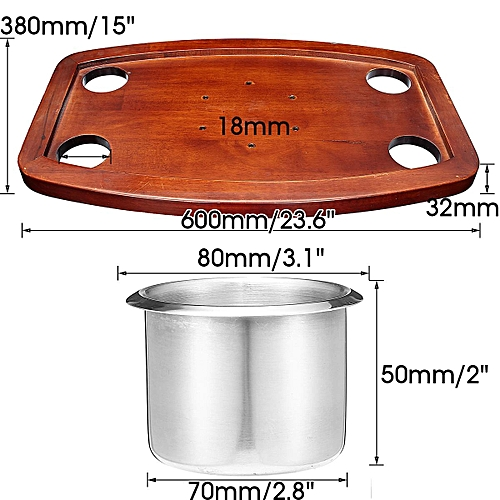 Caravan Motorhome Boat Oak Table With 4 SS Drink Holders 600*380mm 23.6*15""