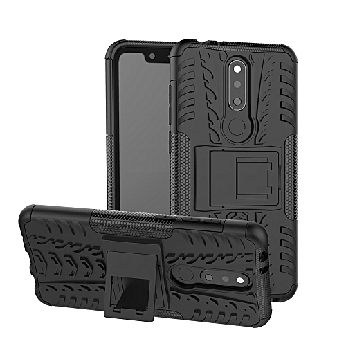 For Nokia 5.1Plus X5 Case, 3 In 1 Tyre Grain Cobwebs Shock-proof Throw-proof Housing With Foldable Stand Holder TPU + PC Back Cover Case For NOKIA X5 / 5.1 Plus