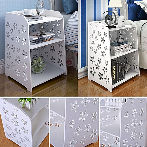 White Bedside Table Cabinet Cupboard Organizer Shelving Rack 40x30x50cm
