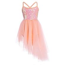 Kids Girls Sleeveless Sequin Asymmetrical Ballet Dance Dress