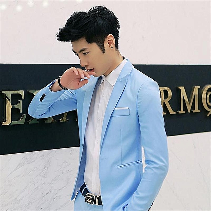 a29cf3a08f1 Royal Blue Korean Style Men Suit Coat Slim Suit Men's Jacket Solid Color  Casual Men's Clothing