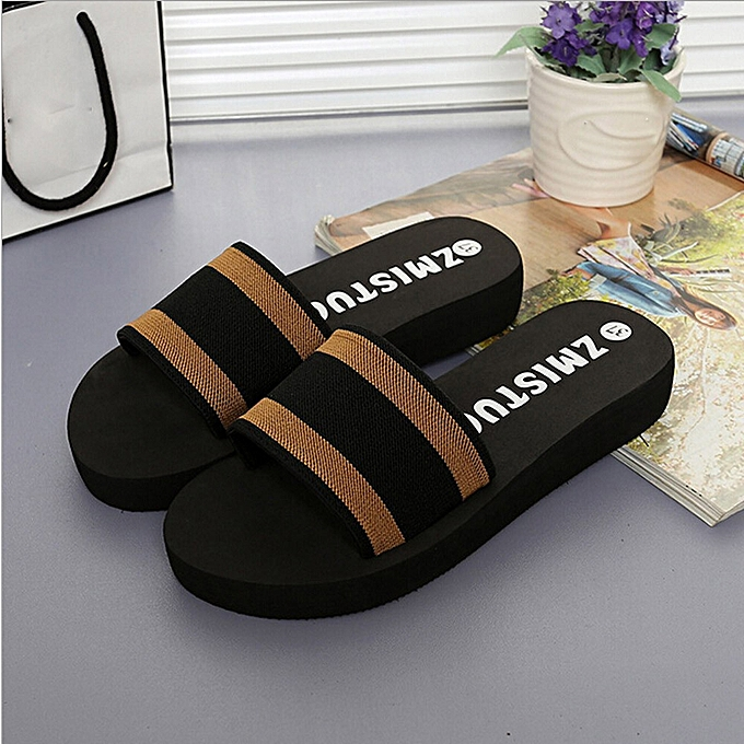 5cc02c00bdc Jiahsyc Store Summer Women Shoes Platform Bath Slippers Wedge Beach Flip  Flops Slippers Shoes-Brown