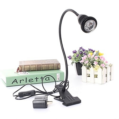 LED Desk Lamp Table Bedside Study Reading Light Clip ON/OFF Clamp (Black Warm White)