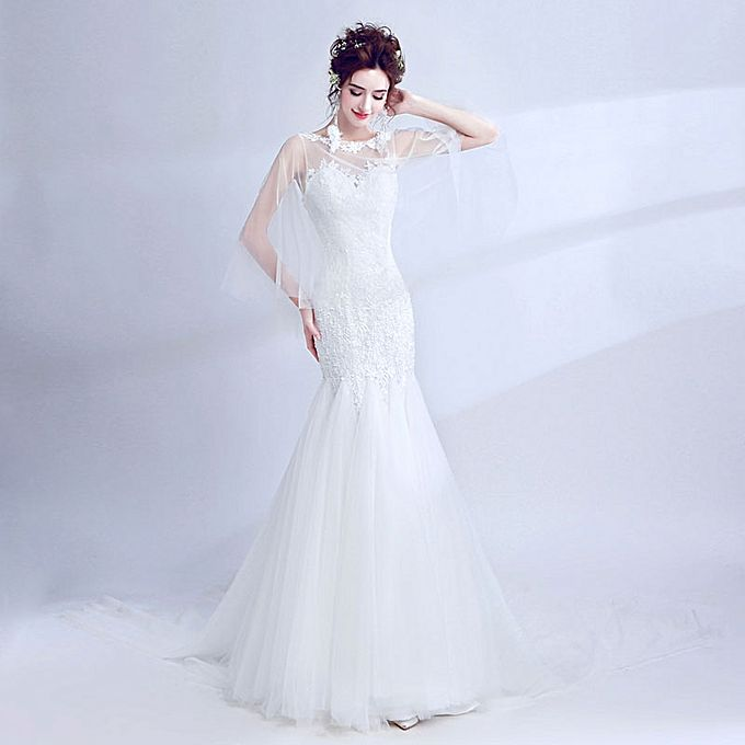 Buy Tulle Wrap Sleeves Sheer Sweetheart Cut Out Back Fishtail ...