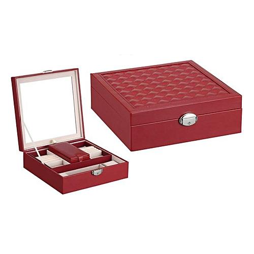 Watch Jewelry Diamond Necklace Box Storage Case With Mirror Red