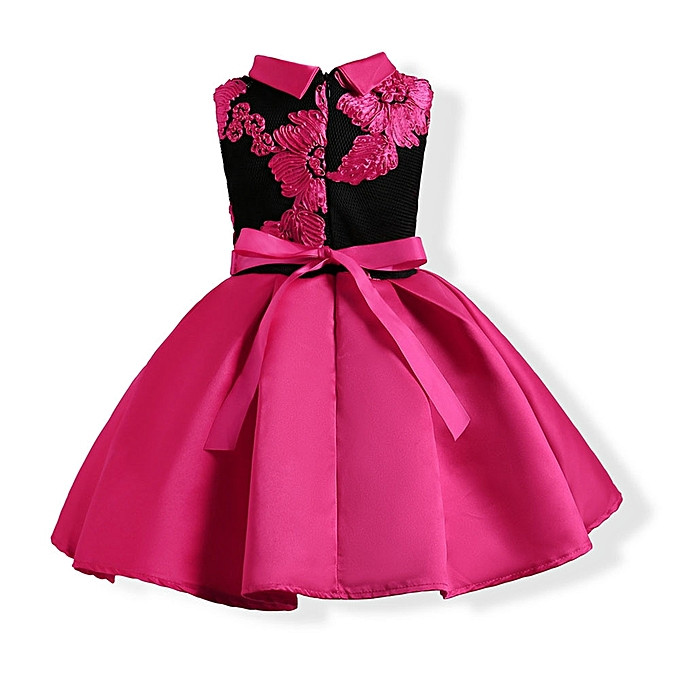 Eissely Child Girls Princess Dress Kids Party Flowers Embroidery