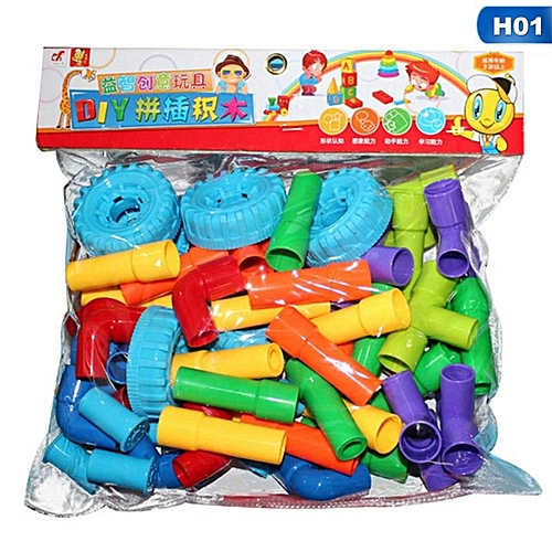 Benhongszy Pipeline Tunnel Blocks DIY Creative Bricks Toys Kids Educational Toy Pipe Blocks Training Toys Child Gift Family Board Game