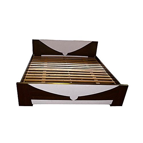 6x6 Spanky Bed Frame - White & Dark Brown