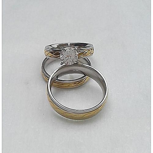 Fashion Az Silver Gold Wedding Ring Set Jumia Com Ng