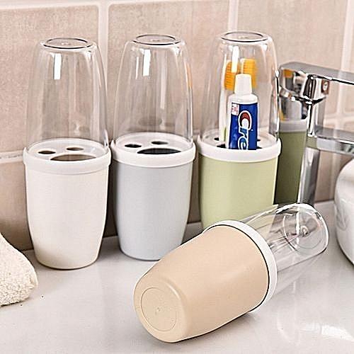 Multi Toothbrush Toothpaste Holder Storage Organizer Set - With Transparent Lid
