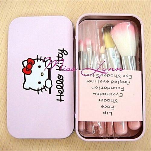 7 Piece Professional Make Up Brush Set + Tin Case - Pink