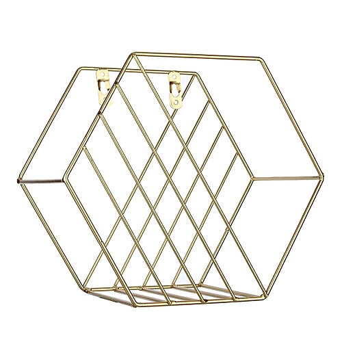 Nordic Metal Grid Wall Hanging Shelf Rack Hexagon Convenient Storage Rack Holde