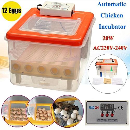 DC12V 30W 16Eggs Automatic Poultry Chicks Incubator Mini Double Screen Display Orange