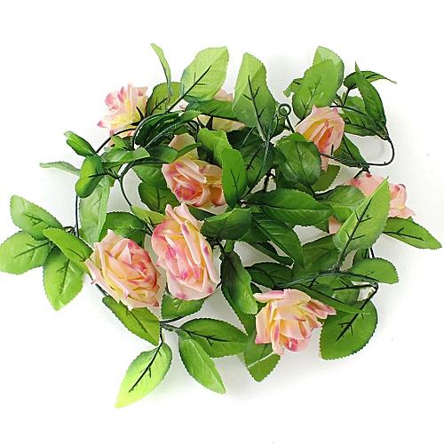 2.5m Artificial Silk Rose Flower Ivy Vine Leaf Garland Wedding Party Home Decor#Dark Pink