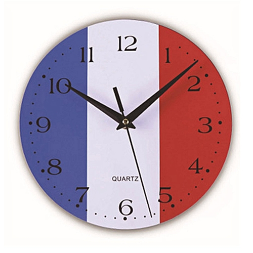 World Cup Fun Flag Wooden Wall Clock Blue,white,red F