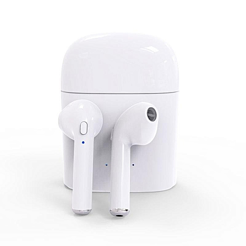 Generic 2 Pcs Mini Wireless Bluetooth Earphone In Ear Stereo Earbud Headset With Charging Box For Apple IPhone 7 Color:white