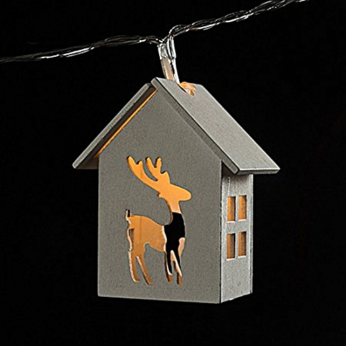 Battery Powered 1.65M 10LEDs Deer Shaped Wooden House Indoor Fairy String Light For Christmas-