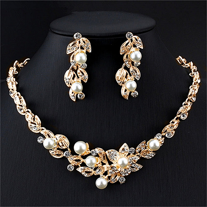 3b75f03c73 Luxury Pearl Jewelry Sets For Women Gifts Dress Accessories Pendant Gold  Color Imitation Pearl Necklace Earrings