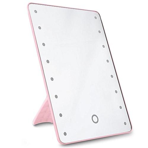 16 LEDs Folding Toilet Lighted Makeup Mirror - Pink