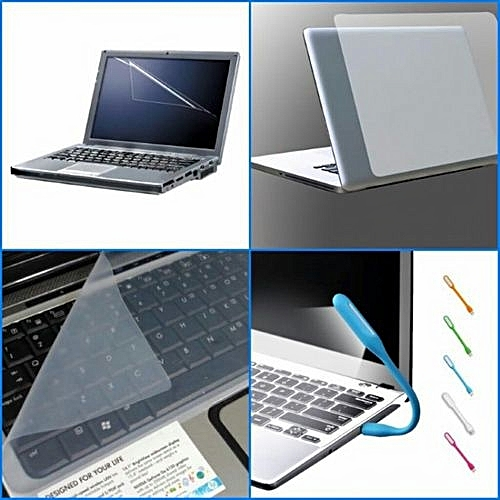 Transparent 3 In 1 Laptop Skin, Screen And Keyboard Protector + A Free Usb Led Light