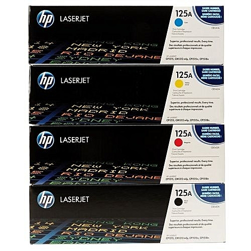 125A (4 Colours...magenta,cyan,black,yellow) LaserJet Toner Cartridge (CB541A)all In One Shipping