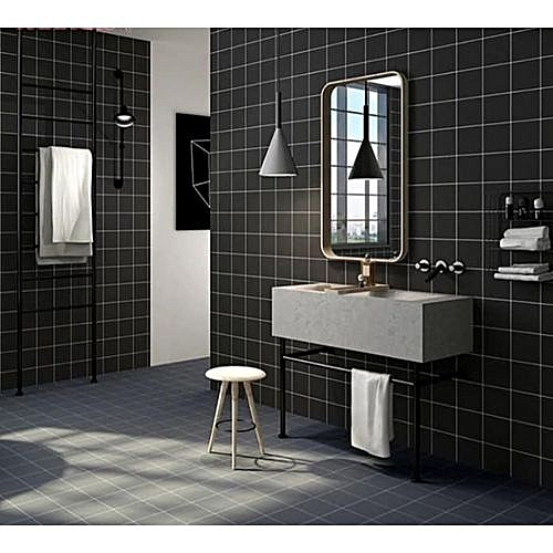 Black Tile Themed Wallpaper - 1 Roll Of 5.3 SQM