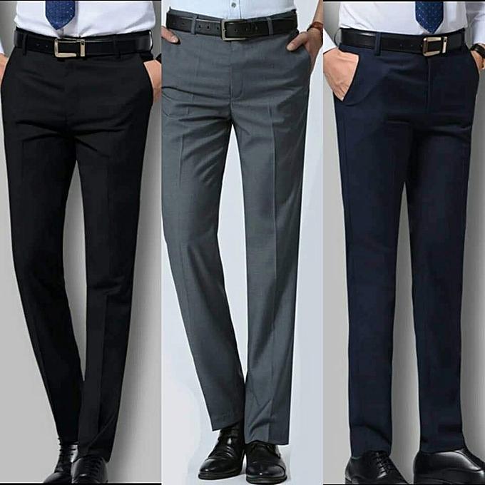 Fashion 3 Suit Smart Trousers For Men Ash Black Navy Blue
