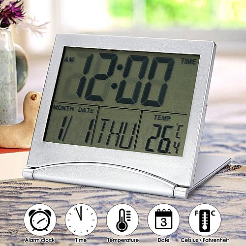 Digital LCD Screen Travel Alarm Clocks Desk Thermometer Timer Calendar Home UK