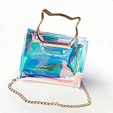 663f77429e1e Cat Ear Design Women Transparent Single Shoulder Bag Jelly Messenger Bags  Transparent