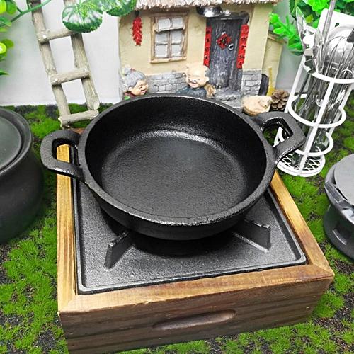 Mini Non-stick Two Handles Iron Cooking Frying Pan Black