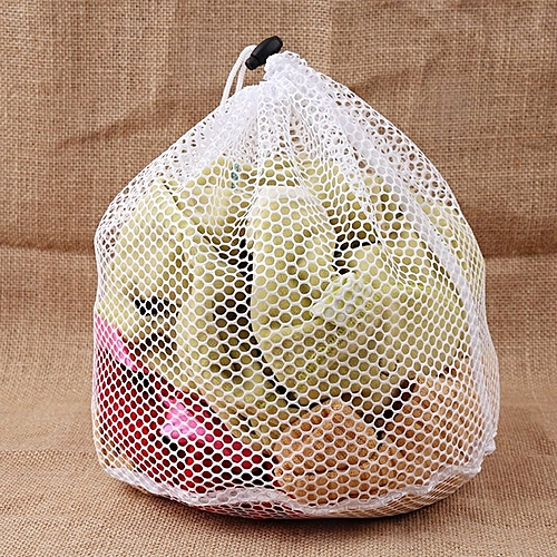 Laundry Mesh Bags Drawstring Net Saver Household Cleaning Tools White