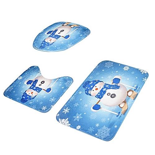 3PCS/SET Bathroom Bath Mat Anti-Slip Carpets Home Toilet Lid Cover Multi-color Mixed
