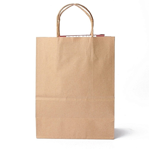 50pcs Kraft Brown Twisted Handle Shopping Gift Merchandise Paper Carrier Retail Bags 21x11x27CM