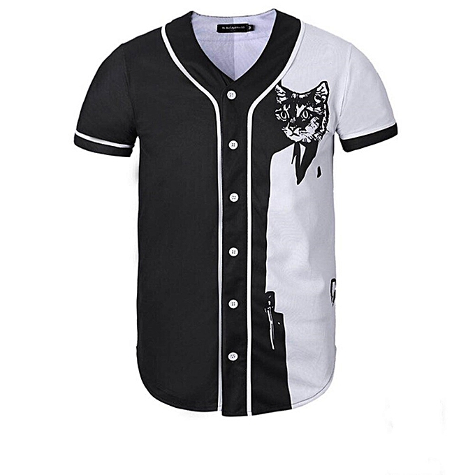 the best attitude 98fbf aca5a Black Cat Printed Men Short Sleeve Baseball Jersey -black