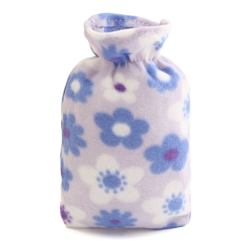 Relaxing Hot Water Bottle Flannel Plush Removable Cover Warm Home Bag Soft Gifts Purple