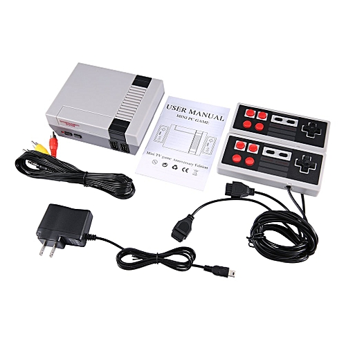 Family Recreation Video Game Console 8 Bit Dual Gamepad Gaming Player Handheld White&grey US