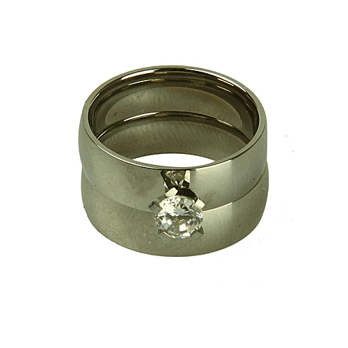 Bling Bling 3-Set Faux Wedding Ring and Band - Silver
