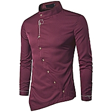 166a92432329c3 Mens Shirts Long Sleeve Embroidery Irregular Casual Shirt Solid Color  Cotton Shirts-Wine Red