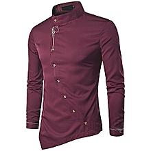 deb1b113e2e5 Mens Shirts Long Sleeve Embroidery Irregular Casual Shirt Solid Color  Cotton Shirts-Wine Red