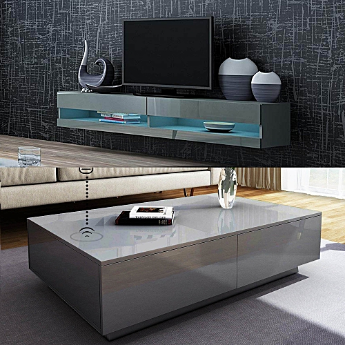 Orzorn Smart Control LED Wall Mount TV Stand 2.0 With Boxini Wireless Charging Coffee Table(2 Piece Set)