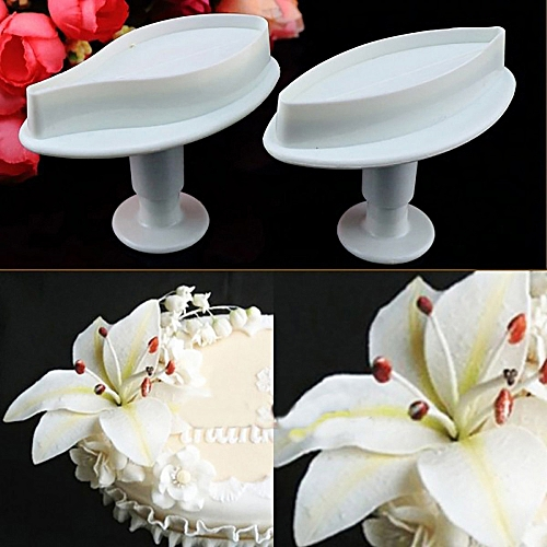 Fashion 2Pcs Small Size Veined Lily Flower Cake Fondant Cookie Decorating Plunger Mold