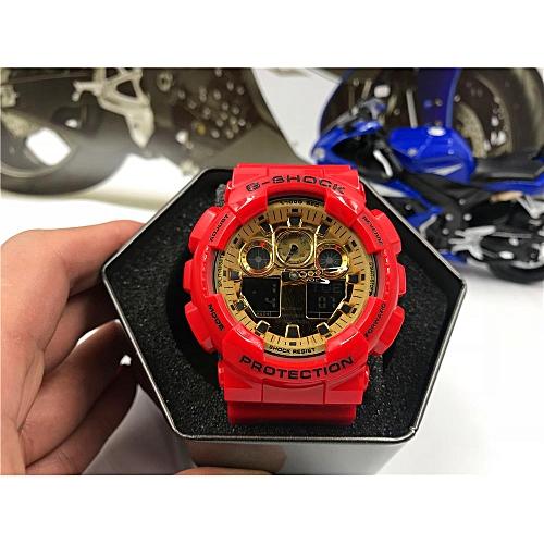 Fashion G-SHOCK Men's Resin Strap Watch GA-100-5A5 - RED