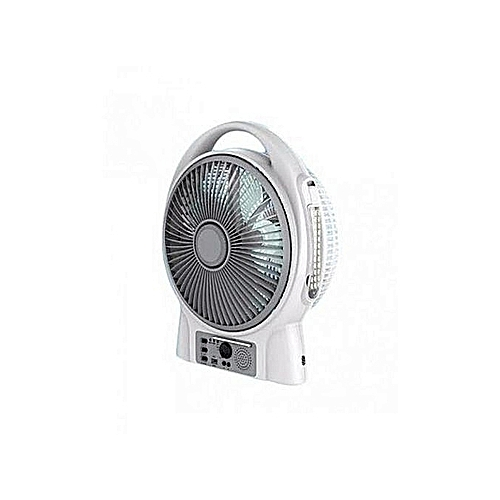 Lontor 8'' Rechargeable Table Fan With USB And Radio.