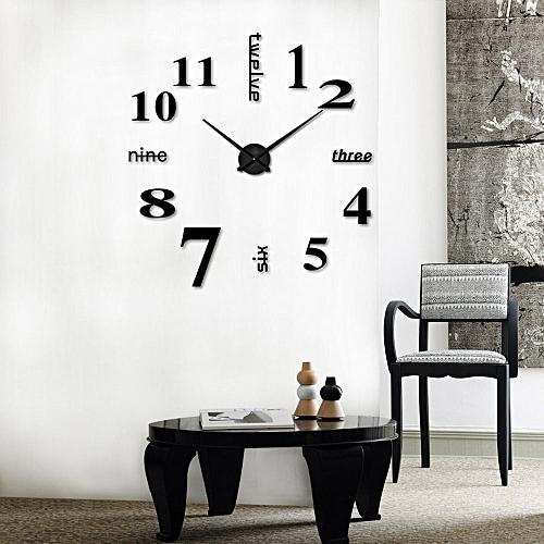 Dtrestocy Acrylic Modern DIY Wall Clock 3D Mirror Surface Sticker Home Office Decor