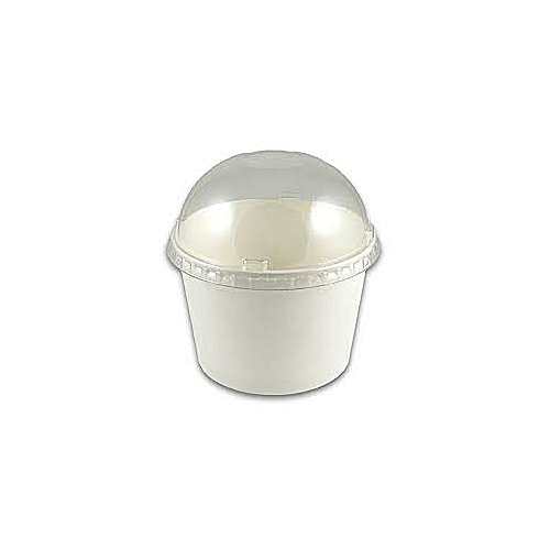 100- Pieces 300ml Disposable Paper Dessert Ice Cream,Yogurt Bowls/Cups Party Supplies,White With Dome Lid