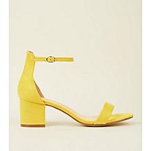 68d7ba0ef44 Mustard Suedette Ankle Strap Block Heel Sandals
